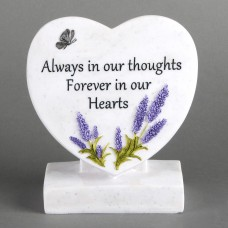 "natuursteen hart met text  ""Always in our thoughts Forever in our hearts"""